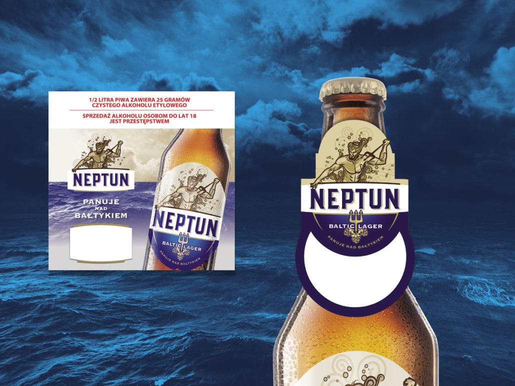 shopping flyer, bottle and label of Neptun beer, in the background the sea
