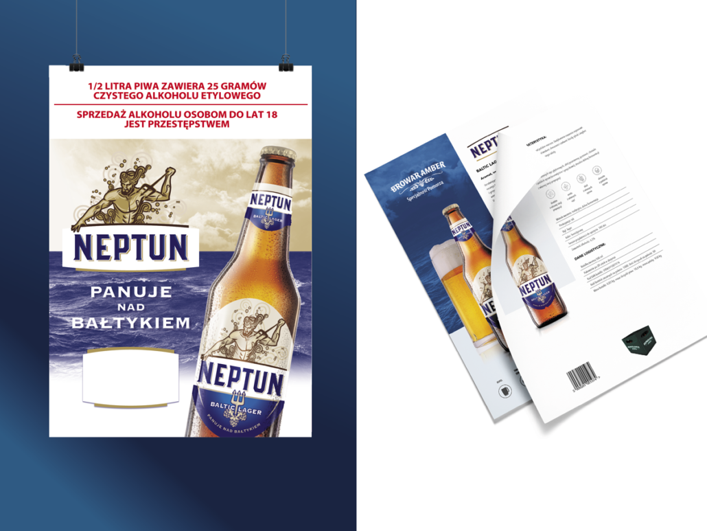 commercial leaflet of Neptun beer, brown bottle against the sea, mythological Neptun on the label and above the logo