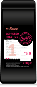 a black pack of coffee with a red prestige espresso inscription and a white label