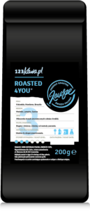 a black packet of coffee with a blue roasted 4you sign and a white label