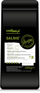 black packet of coffee with green inscription salnie and white label