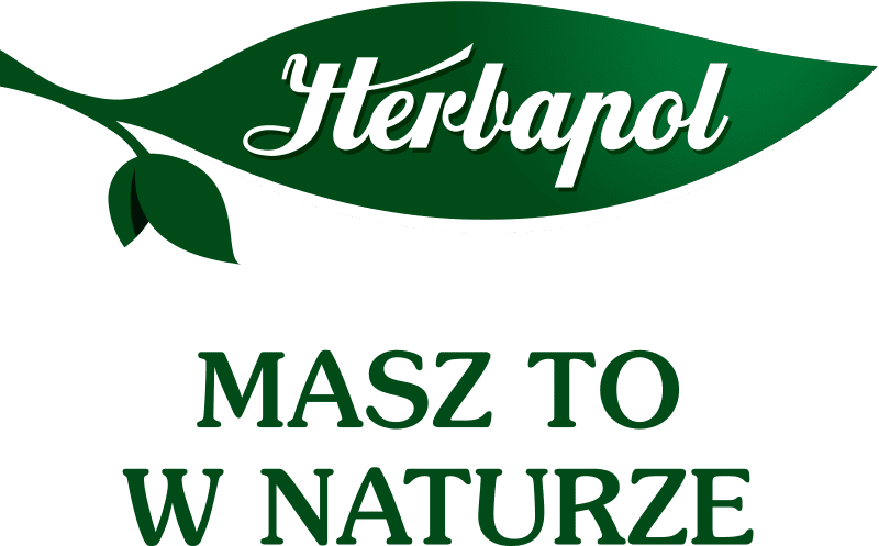 """Herbapol logo: white inscription on a green leaf, at the bottom the inscription """"you have it in nature"""""""