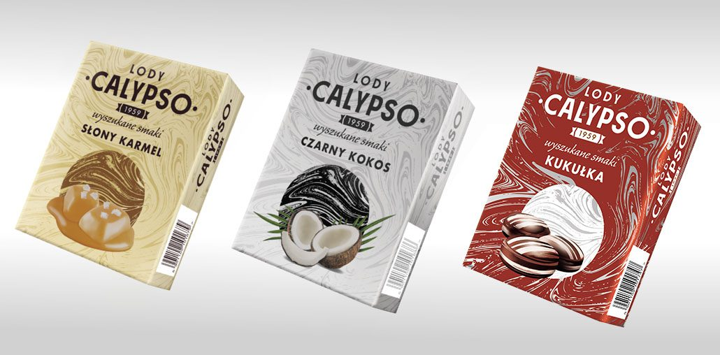 three colorful packages of Calypso ice cream: yellow with a taste of salty caramel, white and silver with a taste of coconut and red with a taste of kukułka candy