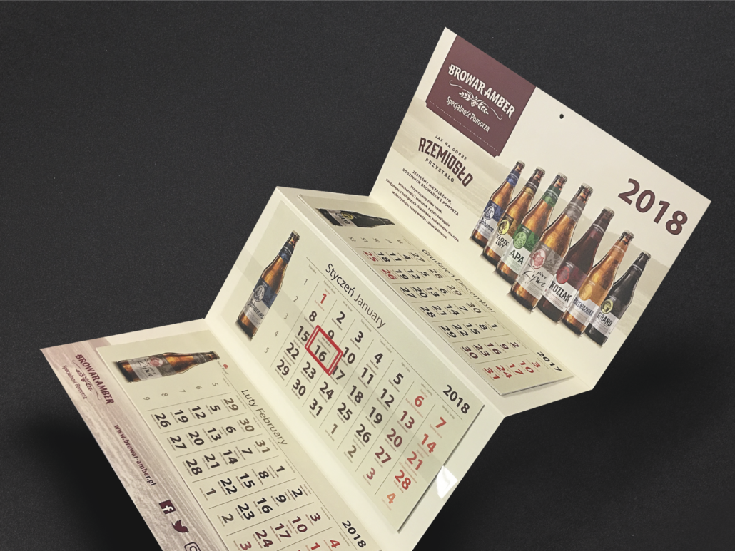 calendar for 2018 with beers from the Browar Amber