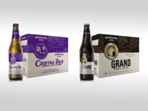 brown bottle of Czarny Bez beer and purple carton, next to a brown bottle of Grand beer and a brown carton