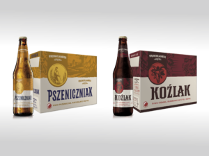 brown bottle of Pszeniczniak and yellow cardboard, and next to it is a brown bottle of Koźlak and a red cardboard
