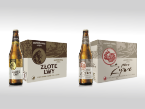 a brown bottle of Złote Lwy beer and a brown and beige carton, and next to a brown beer bottle Żywe and light brown carton