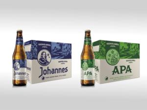 brown Johannes beer bottle and blue cardboard box, and next to brown APA beer bottle and green cardboard box