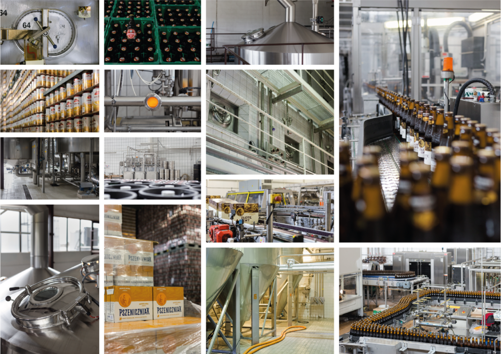 collage with Amber Brewery beers: production photos, beer bottles on the tape, in crates, brewhouse