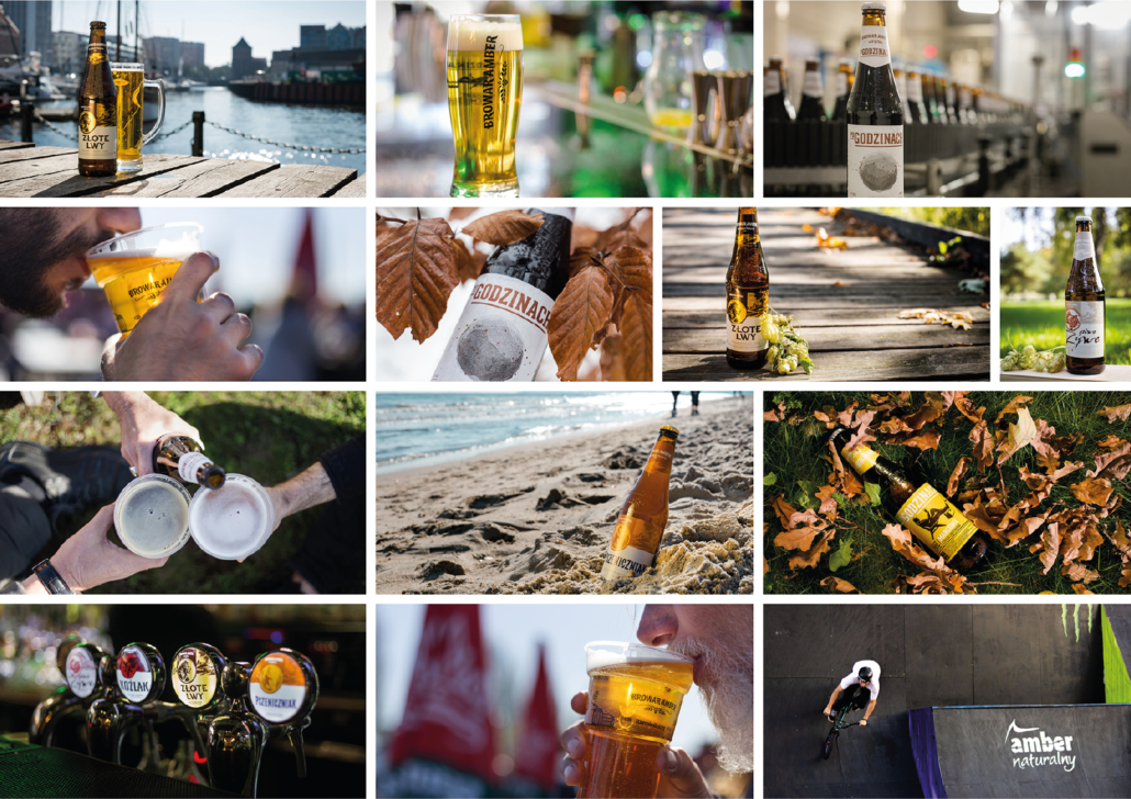 Collage with Amber Brewery beers: photos of bottles or glasses in different sceneries (beach, pub, leaves)