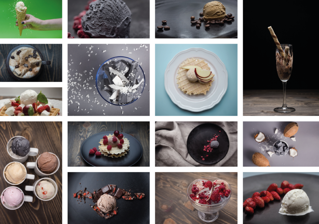 collage: photos of colorful ice cream with toppings (in wafers, glasses, slaters, on a plate, in a bowl, with fruit)