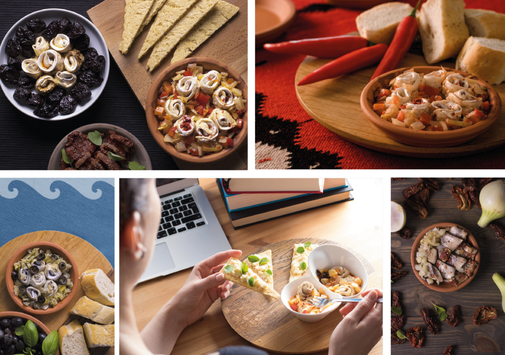 collage: photos of herring cork in bowls with various toppings: plums, baguette, paprika