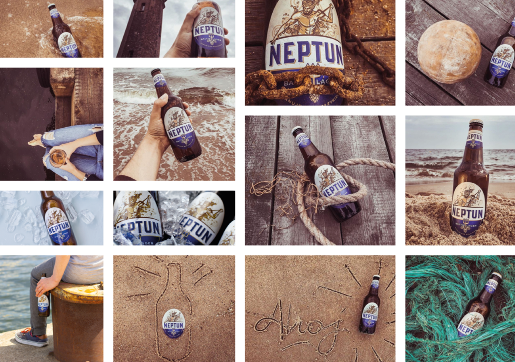 collage with photos of Neptun beer: a brown bottle with a blue and white label by the sea (shot against the sea, in the sand, held by someone, chained and others)