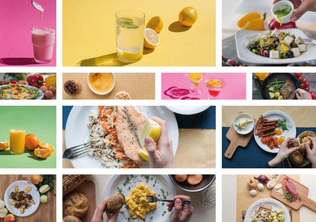 colorful collage with food: lemon, fish, scrambled eggs, salad with feta and others