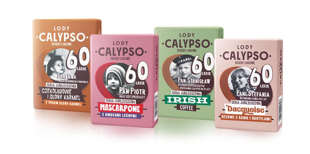 four colorful packages of Calypso ice cream (orange, green, light pink and dark pink)