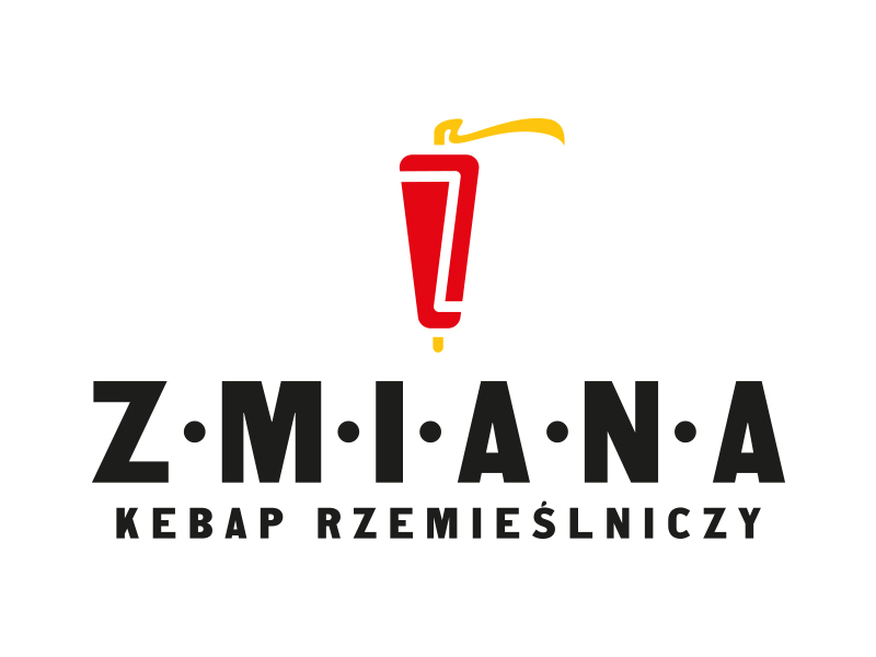 KEBAP CHANGE - black inscriptions, and above them a red-yellow kebab logo