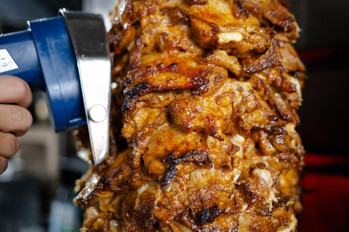kebab meat cutting
