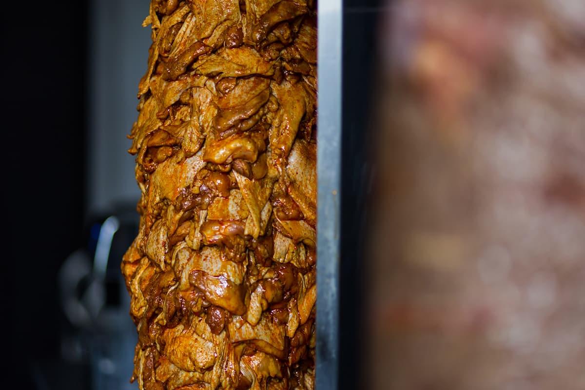 juicy kebab meat on the rack