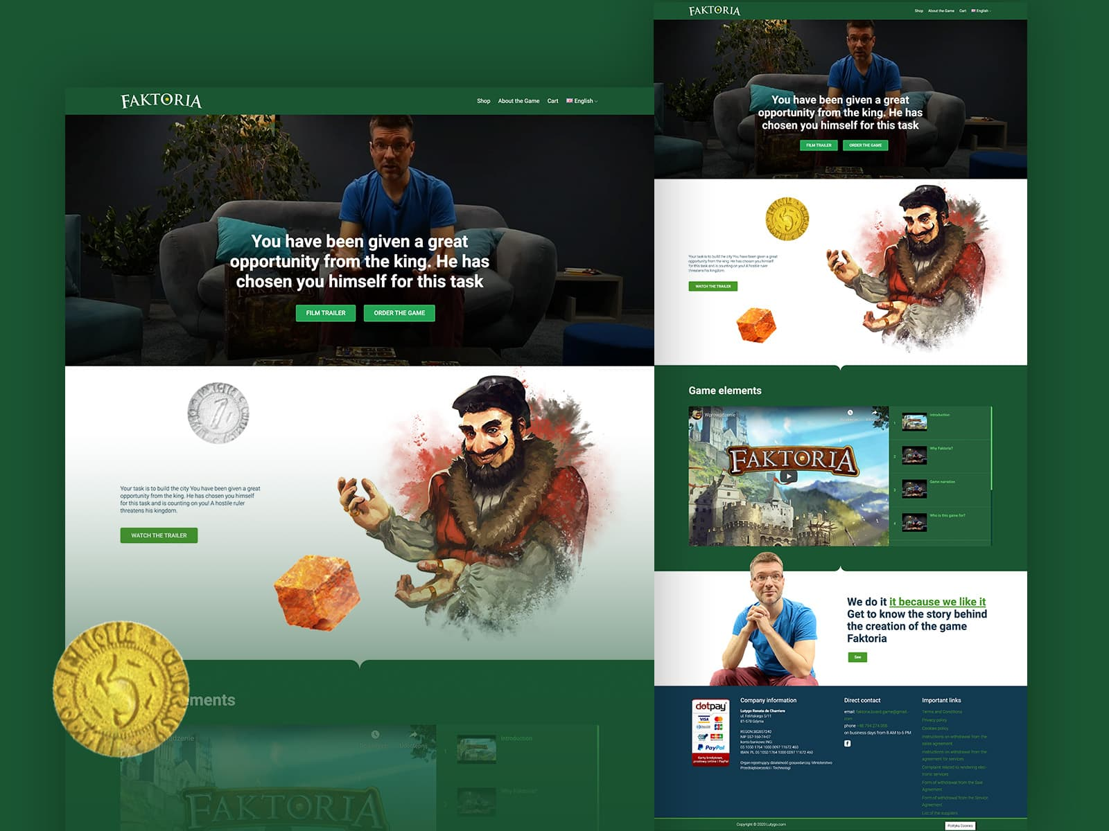 website design and screenshots from the game Faktoria, coin, buyer